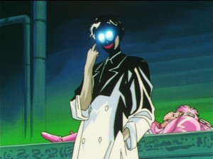 Sailor Moon S episode 123 - Professor Tomoe showing the finger