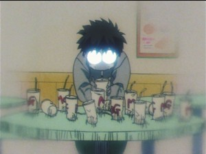 Sailor Moon SuperS episode 131 - Umino drowns his sorrows in milkshakes
