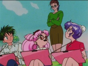Sailor Moon SuperS episode 135 - Kyuusuke, Chibiusa and Momoko badmouth Morino