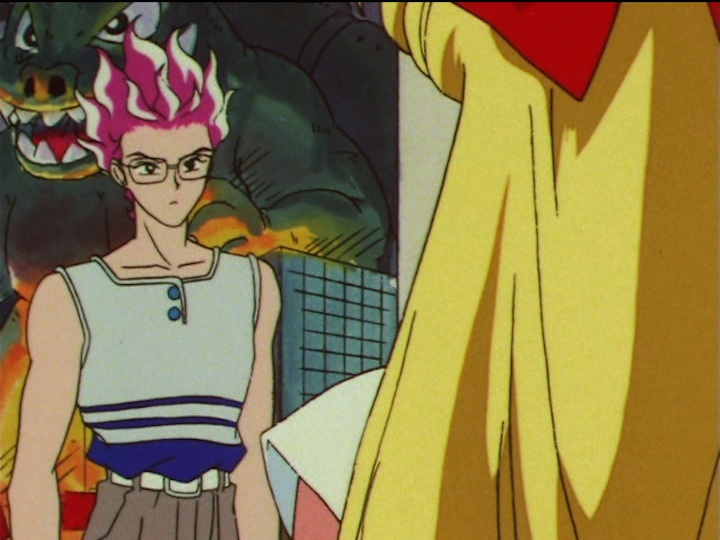 Sailor Moon SuperS episode 141 - Hawk's Eye and Minako see Godzilla