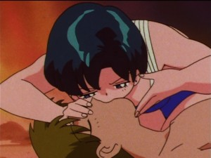 Sailor Moon SuperS episode 144 - Ami does mouth to mouth on Shingo