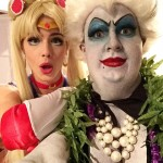 Emily Bett Rickards dressed as Sailor Moon, Coulton Haynes dressed as Ursula