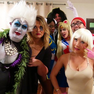 Emily Bett Rickards dressed as Sailor Moon with friends