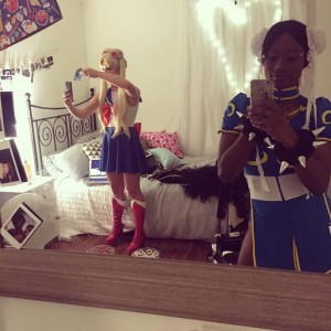 Emily Bett Rickards getting dressed as Sailor Moon