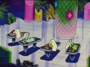 Sailor Moon SuperS episode 150 - The Amazoness Quartet getting massaged