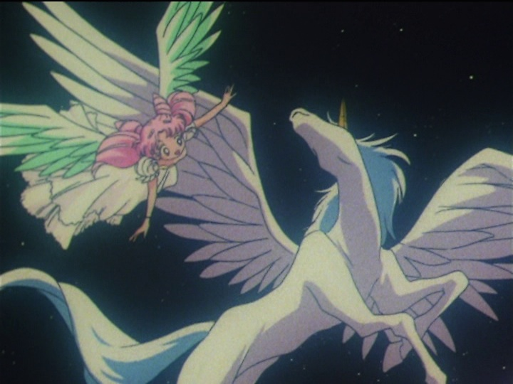Sailor Moon SuperS episode 159 - Chibiusa and Pegasus flying