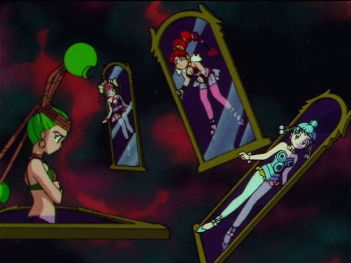 Sailor Moon SuperS episode 163 - The Amazoness Quartet stuck in mirrors