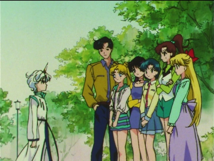 Sailor Moon SuperS episode 166 - Helios and the gang in old clothes