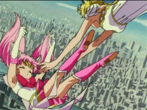 Sailor Moon SuperS episode 166 - Princess Serenity catching Sailor Chibi Moon