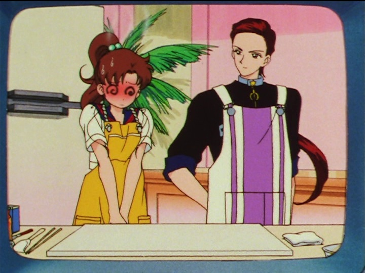 Sailor Moon Sailor Stars episode 179 - Makoto and Taiki on a cooking show