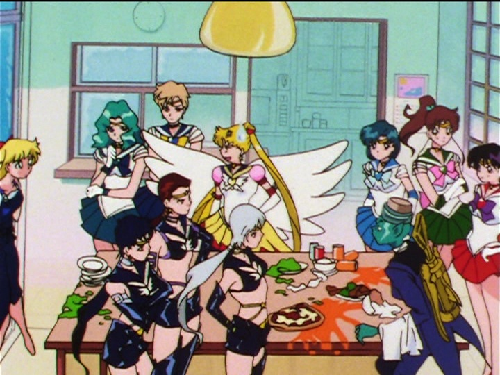 Sailor Moon Sailor Stars episode 184 - Too many Sailor Guardians in Usagi's dining room