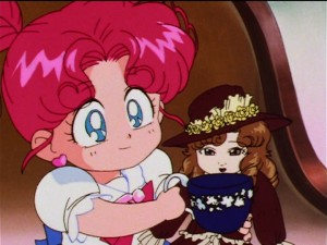 Sailor Moon Sailor Stars episode 186 - Chibi Chibi gives her doll some tea