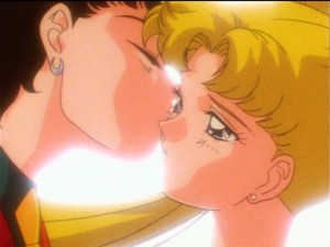 Sailor Moon Sailor Stars episode 195 - Seiya kissing Usagi