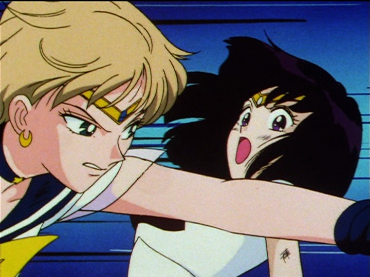 Sailor Moon Sailor Stars episode 197 - Sailor Uranus attacks Sailor Saturn