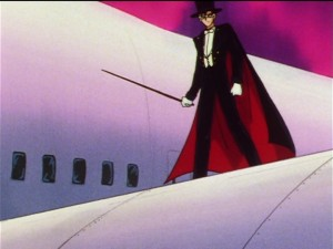 Sailor Moon Sailor Stars episode 197 - Tuxedo Mask chilling on a wing