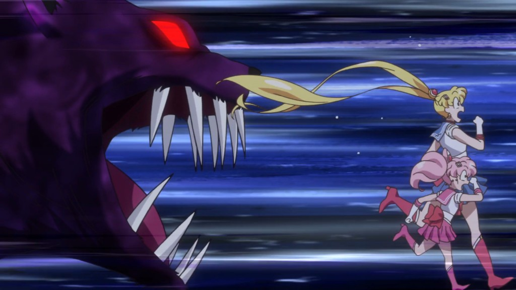 Sailor Moon Crystal Act 27 Part 2 - A cat Daimon chases Sailor Chibi Moon and Sailor Moon