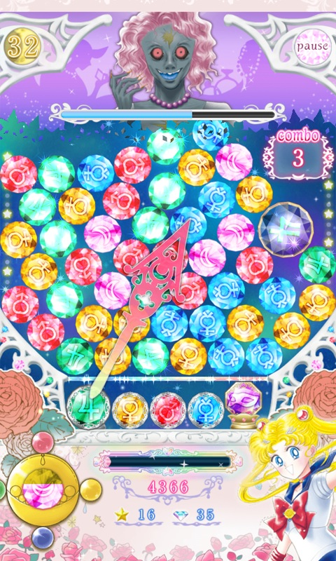 Sailor Moon Official App - Bust a Move type game against Morga
