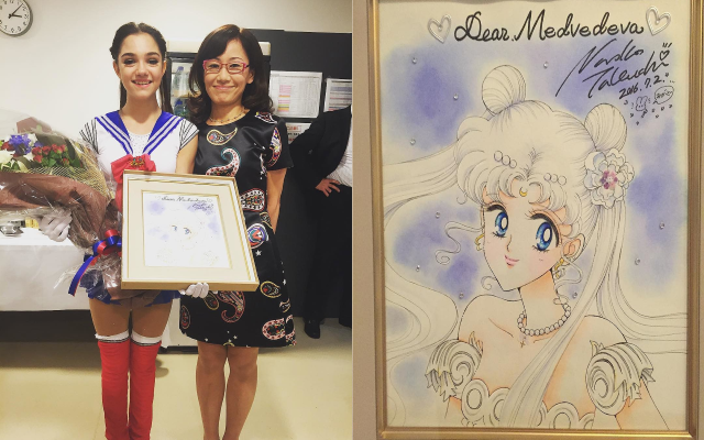 Russian figure skater Evgenia Medvedeva with Naoko Takeuchi