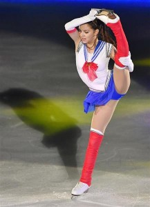 Russian figure skater Evgenia Medvedeva dressed as Sailor Moon