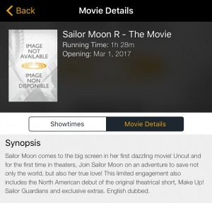 Sailor Moon R: The Movie listed on the Cineplex phone app