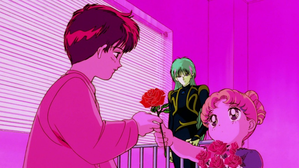 Sailor Moon R The Movie Blu-Ray - Usagi gives a rose to Mamoru