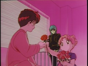 Sailor Moon R The Movie - English Pioneer release - Usagi gives a rose to Mamoru
