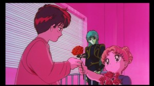 Sailor Moon R The Movie - French DVD - Usagi gives a rose to Mamoru