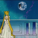 Princess Serenity views a solar eclipse from the Moon