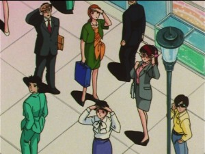 Sailor Moon SuperS episode 128 - A bunch of people looking at the sun