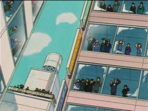 Sailor Moon SuperS episode 128 - Business people looking at the sun