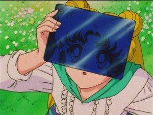 Sailor Moon SuperS episode 128 - Usagi watching the solar eclipse