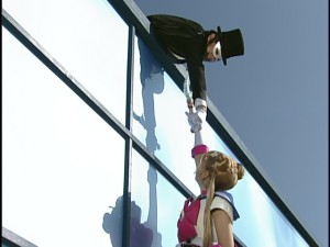 Live Action Pretty Guardian Sailor Moon Act 4 - Tuxedo Mask holds Sailor Moon