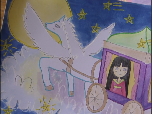 Live Action Pretty Guardian Sailor Moon Act 10 - A drawing of Princess Kaguya returning to the Moon