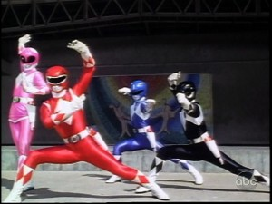 Mighty Morphin Power Rangers season 1 episode 11 - Power Rangers in front of a mural