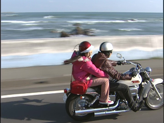 Live Action Pretty Guardian Sailor Moon Act 13 - Usagi and Mamoru going for a motorcycle ride along the coast
