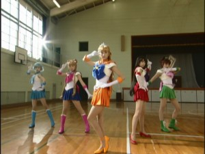 Live Action Pretty Guardian Sailor Moon Act 18 - The Sailor Guardians with Sailor Venus in the middle