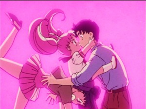 Sailor Moon R episode 60 - Japanese DVD - Chibiusa kissing Mamoru