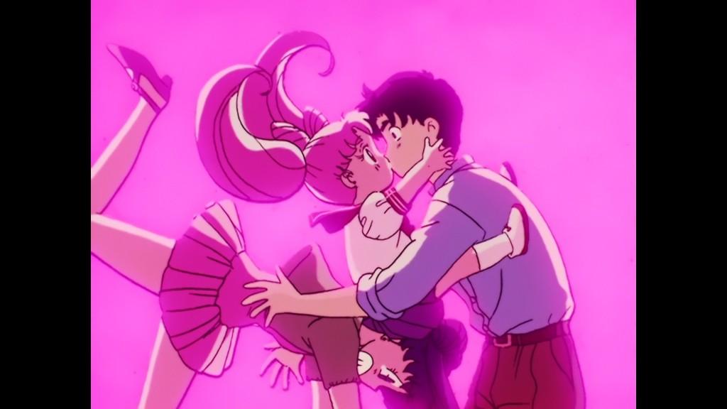 Sailor Moon R episode 60 - Japanese Blu-Ray - Chibiusa kissing Mamoru