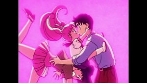 Sailor Moon R episode 60 - Viz Blu-Ray - Chibiusa kissing Mamoru