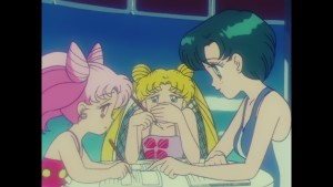 Sailor Moon R episode 67 - Japanese Blu-Ray - Chibiusa, Usagi and Ami doing homework