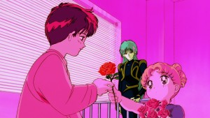 Sailor Moon R The Movie - Usagi gives Mamoru a rose