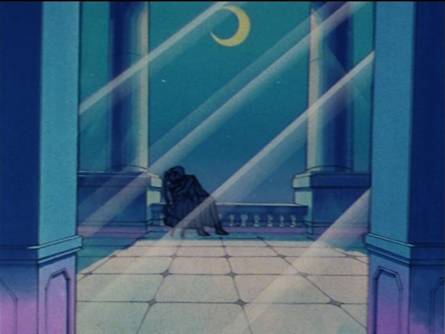 Sailor Moon episode 22 - Tuxedo Mask kissing a drunk Usagi
