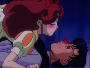 Sailor Moon R episode 56 - An, as Snow White, tries to kiss Mamoru, as Prince Charming