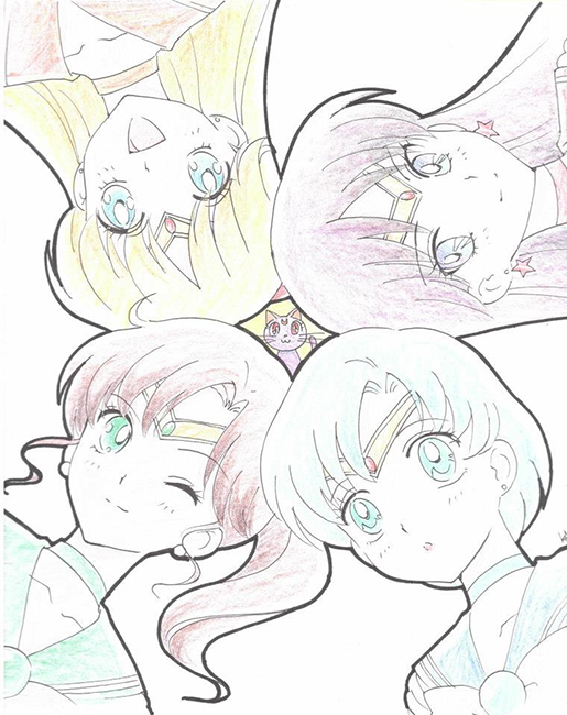Kazuko Tadano Sailor Mercury, Mars, Jupiter and Venus sketch from 2013