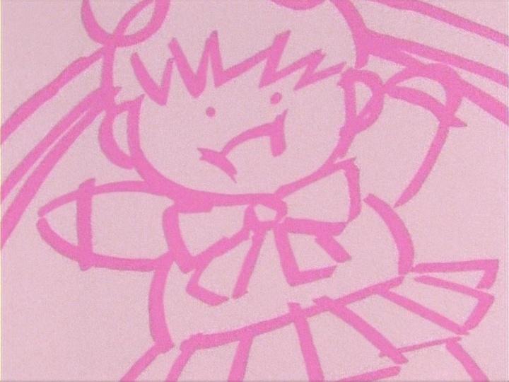 Sailor Moon episode 4 - Chubby Usagi drawing