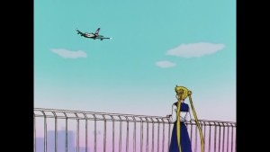 Sailor Moon Sailor Stars Viz Blu-Ray - Usagi watches Mamoru's plane leave
