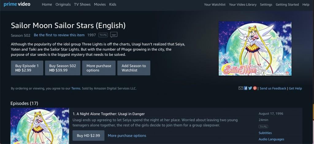 Sailor Moon Sailor Stars Part 2 on Amazon Prime Video