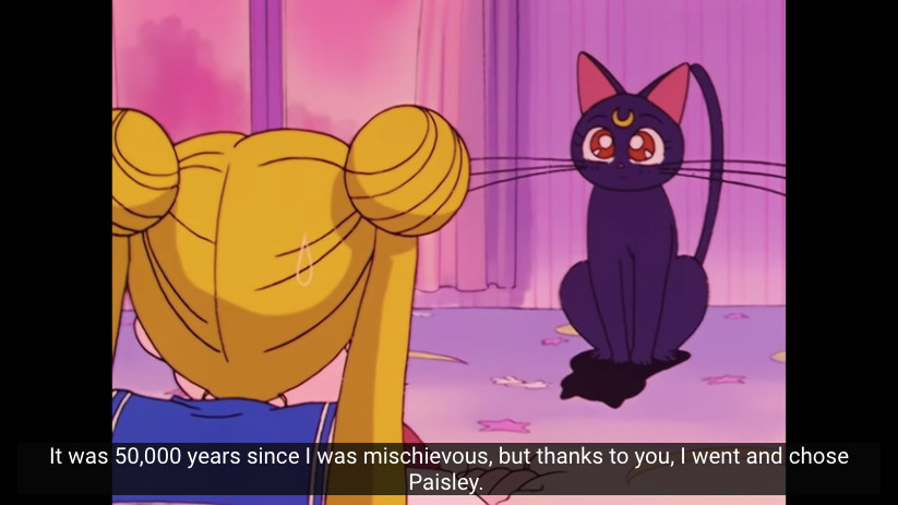Sailor Moon Episode 01 on YouTube - Luna talks about being mischievous for 50,000 years