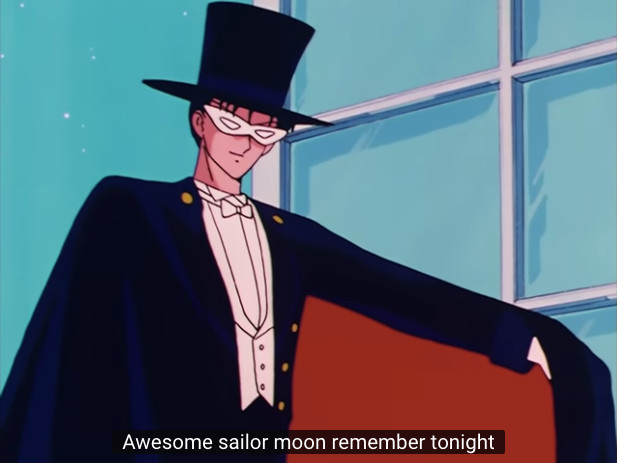 Sailor Moon Episode 01 on YouTube - Tuxedo Mask things that's awesome
