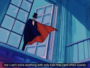 Sailor Moon Episode 01 on YouTube - Tuxedo Mask can't solve anything with only kale